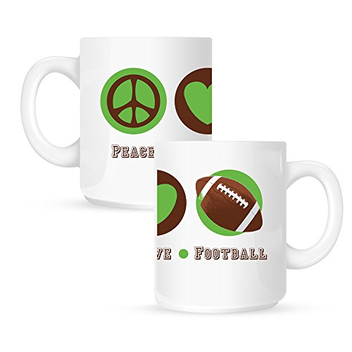Insomniac Arts - Peace Love and Football - 15 Ounce Coffee Mug
