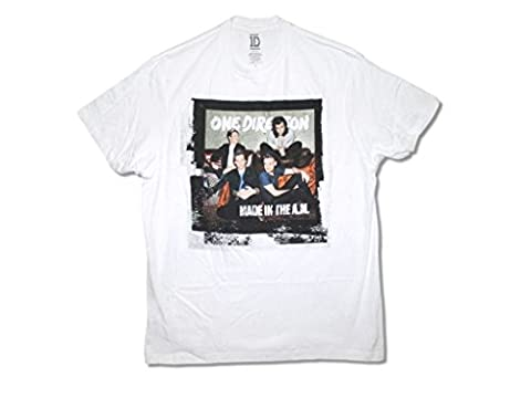 One Direction Made in the A.M. Band Image Adult White T Shirt (L) (1 Direction Tour Shirt)