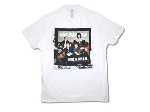 One Direction Made in the A.M. Band Image Adult White T Shirt (L) (One Direction Adult Clothing compare prices)