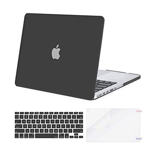 MOSISO Case Only Compatible with Older Version MacBook Pro Retina 13 inch (Models: A1502 & A1425) (Release 2015 - end 2012), Plastic Hard Shell Case & Keyboard Cover & Screen Protector, Metallic Gray