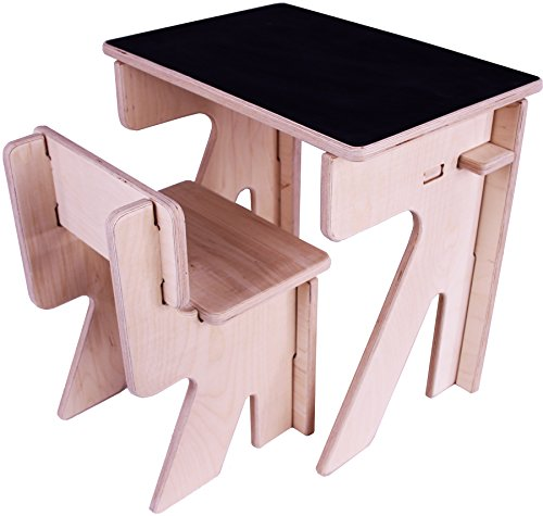 Children's Desk and Chair Set. Chalkboard table top. No-tool, DIY assembly. Natural unfinished plywood. Kid safe, smooth, sanded wood finish. High-grade, non-toxic materials. Made in USA (age 4-7) (Assembly Natural)