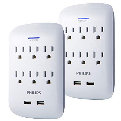 PHILIPS Surge Protector, 2 Pack, 6 Outlet, 2 USB Ports, 900 Joules, Wall Adapter, Extender, Charges Smartphones, White, SPP6266WB/37