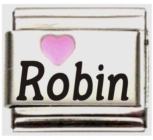 Robin Pink Heart Laser Name Italian Charm ()