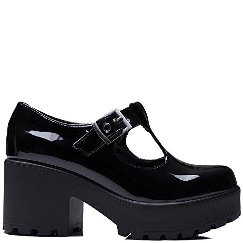 Heel Boots Spylovebuy Cattie Buckle Black Women's Ankle Adjustable Patent Shoes Block 1PXqPcBn