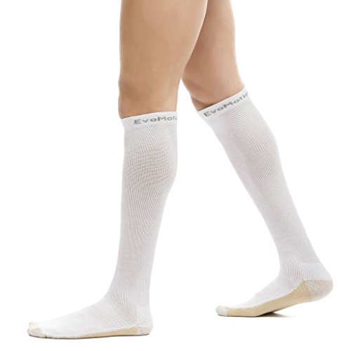 White Microban (EvoMotion Hydrotec Copper Microban USA Made Ultimate Compression Socks Men and Women 15-20 mmHg Moderate Graduated Pressure Pro Athletic Sports Performance and Recovery Support (Medium, White))