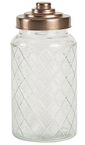 Lattice Glass Jar with Copper Finish Lid 12ltr Vintage Glass