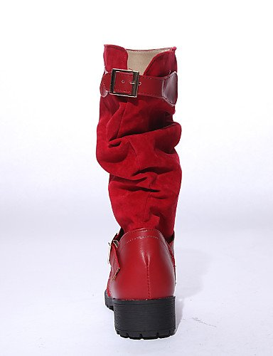 Semicuero Botas Tacón Marrón 5 Cn43 5 A Brown Rojo La us7 Xzz Vellón Moda Eu38 Negro Robusto Uk8 5 Mujer Vestido us10 Zapatos 5 Black Uk5 Eu42 De Uk8 Redonda Cn38 Punta qBZ0Otnw