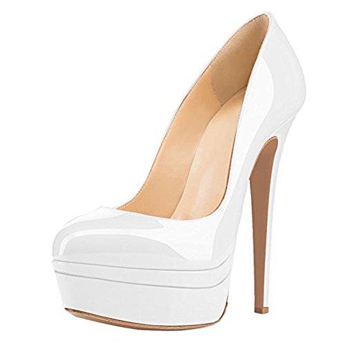 Highpumps Femme Haut Talon Plate-forme Sandales Pompes Fermées À La Main Pour La Fête De Mariage Robe Stiletto Chaussures Blanc