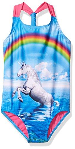 Freestyle Little Girls' Unicorn Dreams One Piece Swimsuit, Blue, 6X