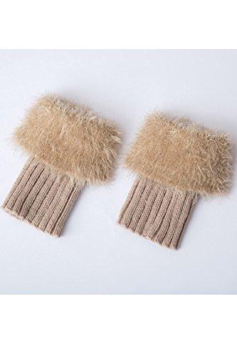 Warmer Beige Donna Boot Soft Knitted Short Crochet Inverno Leg Cuffs Furry Toppers RvfqU