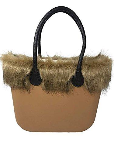 O Bag Biscuit + Fox Turtledove Border + Bolso Interno Canvas con Cremallera Natural + Asas Largas de Cuero Sintético Martillado: Amazon.es: Zapatos y ...