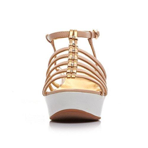 Allhqfashion Kvinna Runda Öppen Tå Kattunge Klackar Ko Läder Sandaler Med Glas Diamant Beige