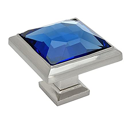 Cosmas 5883SN-BL Satin Nickel Cabinet Hardware Square Knob with Blue Glass 20 Pack 1-1//4 Square