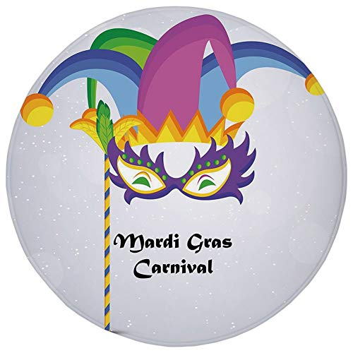 Round Rug Mat Carpet,Mardi Gras,Mardi Gras Carnival Inscription with Traditional Party Icons Clown Costume Hat Decorative,Multicolor,Flannel Microfiber Non-slip Soft Absorbent,for Kitchen Floor Bathro ()