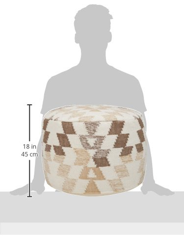 Ashley Furniture Signature Design - Abraham Pouf - Handmade - Imported - Traditional - White and Brown by Signature Design by Ashley (Image #7)