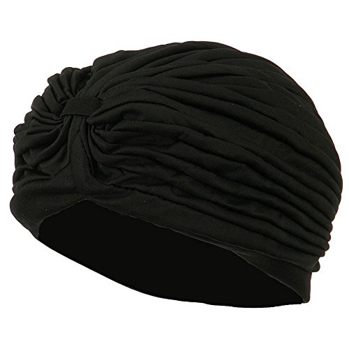 Vintage Look TURBAN Spandex Pleated Gypsy Costume Accessory BLACK
