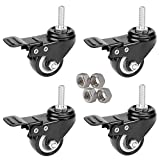 MySit 4pcs Stem Casters with Brake Lock | 2 inch Heavy Duty PU Rubber Swivel Castor Wheel Shopping Trolley - Threaded Stem Bolt 5/16'' - 1'' or M8x25 with Nuts (CasterBrake50_8x25N)