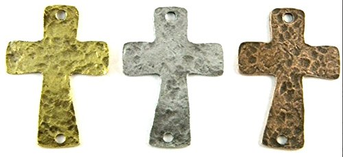 PlanetZia 5 Beautiful 2 inch 2 Hole Hammered Cross Charms/Pendants in 3 Finishes TVT-RZ-06 (Antique Silver)