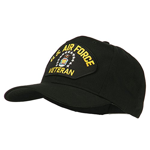 e4Hats.com US Air Force Veteran Military Patch Cap - Black OSFM c5f38247f662