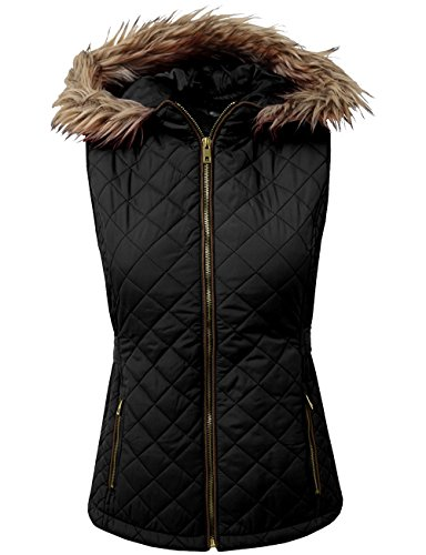 Timeless Down Vest - BEKDO Womens Lightweight Quilted Puffer Padded Vest Jacket With Hood-M-Black