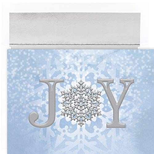 Masterpiece Studios Joy Snowflake 18 Cards/18 Foil Lined Envelopes, 7.875 x 5.625