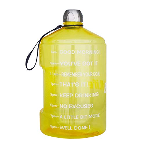 QuiFit 1 Gallon Water Bottle with Motivational Time Marker 128/73/43 oz Large Capacity BPA Free Reusable Sports Water Jug with Handle to Drink More Water(1 Gallon, Yellow)