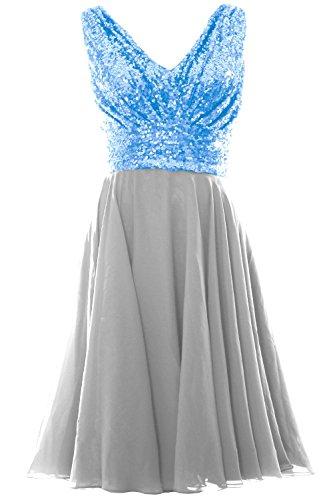 MACloth Women V Neck Sequin Chiffon Short Bridesmaid Dress Formal Evening Gown (EU32, Daffodil)