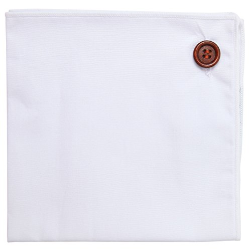 Pocket Square 100% Cotton, White w White Trim, Button Collection by Puentes Denver (In Denver Christmas Events)