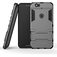Nexus 6P Case,Lantier Dual Layer Case with Built-in Kickstand,Lightweight Slim Fit Dual Layer Hybrid Armor Protective Case Cover for Nexus 6P Gray