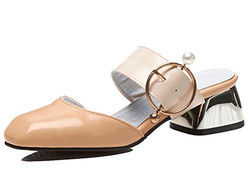 HiEase Women's Contrast Color Slip on Clogs Slippers Closed Square Toe Pearl Gladiator Sandals Size 4-15 Beige