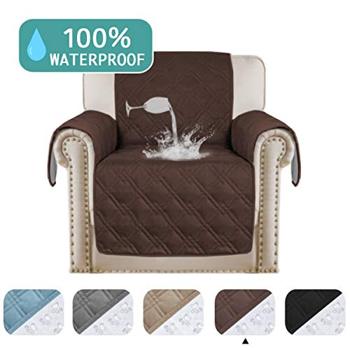 100% Waterproof Chair Covers Slip Resistant Dog Sofa Cover Protector Friendly Quilted Couch Protector for Recliner Chair Cover Non-Slip Washable Waterproof Pads for Furniture (Chair 75