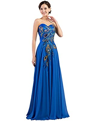 GRACE KARIN Long Strapless Embroidery Prom Dress A-line CL6168 (Multi-Colored)