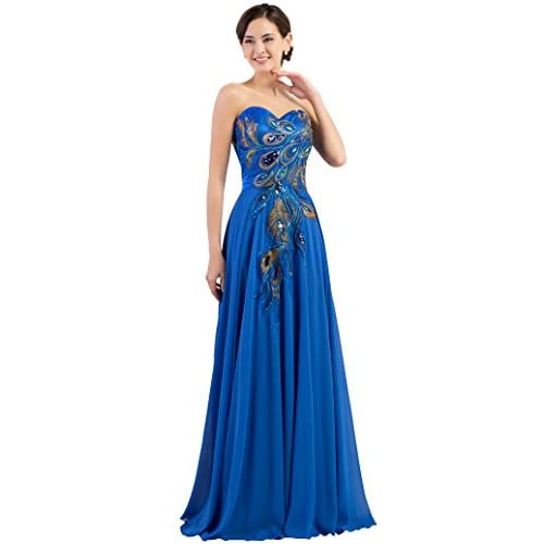 Grace Karin Long Strapless Embroidery Prom Dress A Line Cl6168