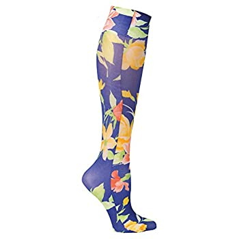 Women's Celeste Stein Printed Moderate Compression Knee High Stockings - Navy Floral