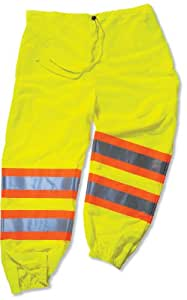 Ergodyne GloWear 8911-IS Class-E Two-Tone Pant with Insect Shield, Lime, 4X-Large/5X-Large