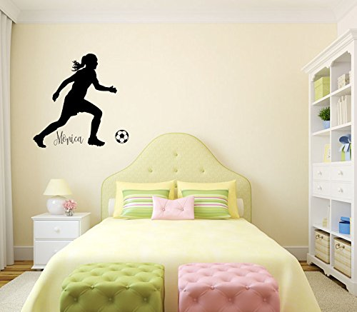 Soccer Player Girl Silhouette with Custom Monogram Name Vinyl Wall Words Decal Sticker Graphic