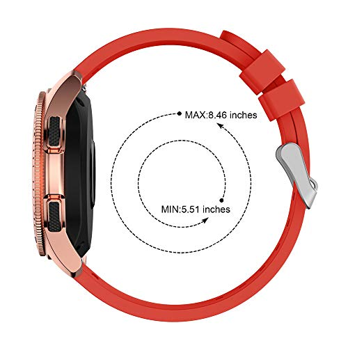 Insaneness Pure Colour Stripe Soft Silicone Watch Band Band Strap for Samsung Galaxy Watch (Red, 42mm) by Insaneness (Image #4)