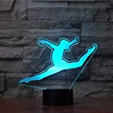 3D Gymnast Shape Night Light 7 Color Change LED Table Desk Lamp Acrylic Flat ABS Base USB Charger Home Decoration Toy Brithday Xmas Kid Children Gift
