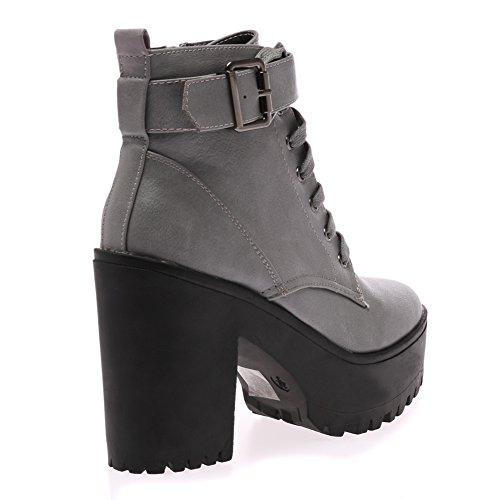 My1stwish Women's Mid Chunky Lace Up Platform Heels Ankle Boots Grey PU 9LfYOgJjS