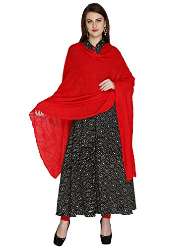 Dupatta Bazaar Woman's Embroidered Red Chiffon  Chunni,Dupatta, Stole with Lace Border