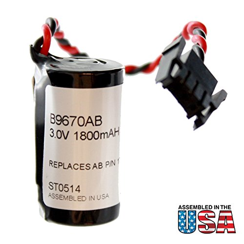 Exell PLC 3V 1800mAh Lithium Battery Replace for Allen Bradley 1756-AB1 1756-BA1 1756-L1 1756-L1MX 1756-L1MX 1756-L55MX 1756-L63 1764-LRP 1764-LSP 1794-L33 1794-L34 94194801 94194801-REV C 97072901 ()