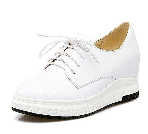 Sfnld Womens Classical Round Toe Platform Lace Up Heighten Inside Wedge Heels Sneakers White DkMceYTLB