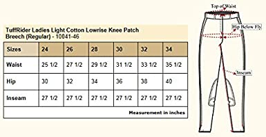 TuffRider Starter Lowrise Pull On Breeches with Cs2 Bottom Black 24 LD