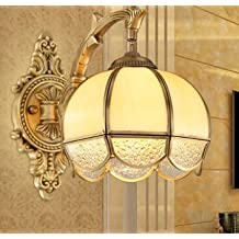 WYMBS European-style living room all copper bedroom bedside lamp base Europe living room TV wall wall lights American