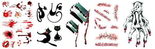 Horrible Bloody Palm Scars Needle Wound Tattoo Stickers by AMDXD,Halloween Themed Tattoo