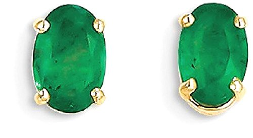 ICE CARATS 14k Yellow Gold Green Emerald Post Stud Ball Button Earrings May Birthstone Prong by ICE CARATS