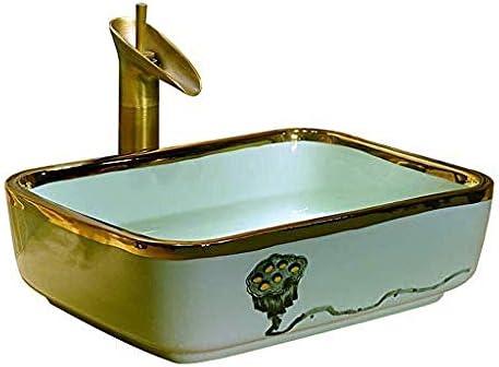 バスルーム長方形レトロ洗面シンク景徳鎮セラミックホテルアンチスプラッシュ洗面蛇口1セット