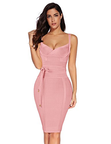 meilun Womens Rayon Belt Detail Bandage Bodycon Party Dress (S, Pink)
