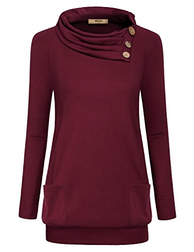 - Miusey Lightweight Pullover Women, Cool Utility Sweater Winter Clothes Novelty Long Sleeve Raglan Blouses Pleated Thermal Top Cute Vintage Sweatshirt Breathable Tri-Blend Point Tunic Shirt Red XXL