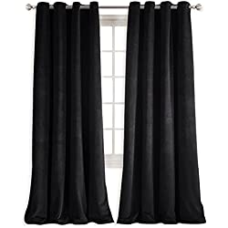 NICETOWN Patio Blackout Velvet Curtain Panels - Energy efficient Velvet Woven Home Theater Eyelet Top Drapes(1 Pair, W52xL96-inch, Almond Jet Black)